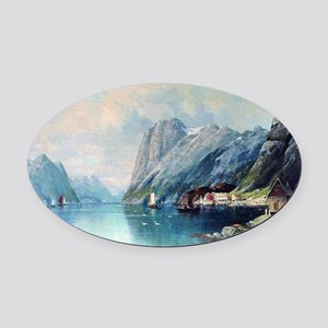 Fjord in Norway, painting by Lev L Oval Car Magnet