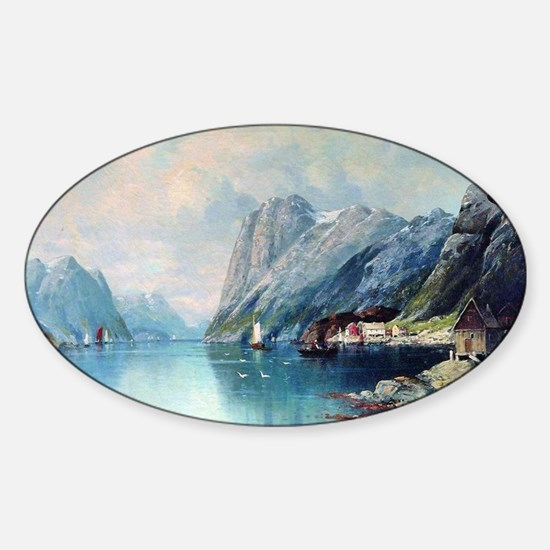 Fjord in Norway, painting by Lev La Sticker (Oval)