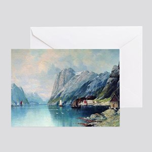 Fine art greeting cards cafepress fjord in norway painting by lev lag greeting card m4hsunfo