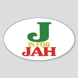 J is for Jah Oval Sticker