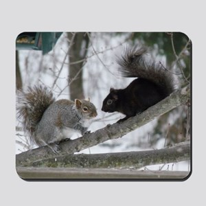 Black and Gray Squirrel Mousepad