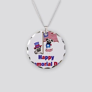 Happy Memorial Day Pugs with Necklace Circle Charm