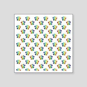 "Rainbow Paw Prints on White Square Sticker 3"" x 3"""