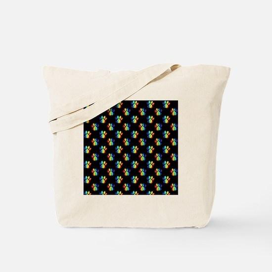 Rainbow Pawprints on Black Tote Bag