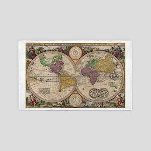 World Map 1657 3'x5' Area Rug