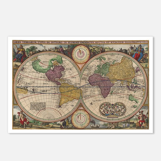 World Map 1657 Postcards (Package of 8)