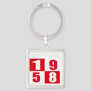 Born In 1958 Designs Square Keychain