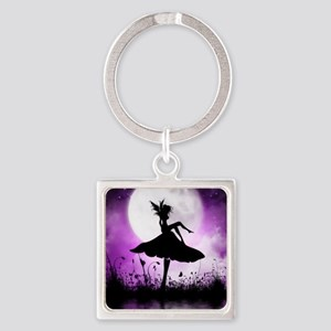 Enchanted-Silhouette-Fairy-Purple Square Keychain
