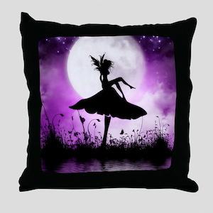 Enchanted-Silhouette-Fairy-Purple Throw Pillow