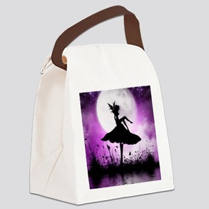 Enchanted-Silhouette-Fairy-Purple Canvas Lunch Bag