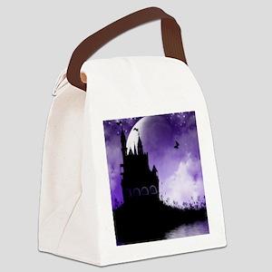 Enchanted-Silhouette-Castle-Purpl Canvas Lunch Bag