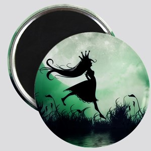 Enchanted-Silhouette-Princess-Green Magnet