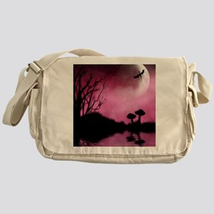 Enchanted-Silhouette-dragon-Red Messenger Bag