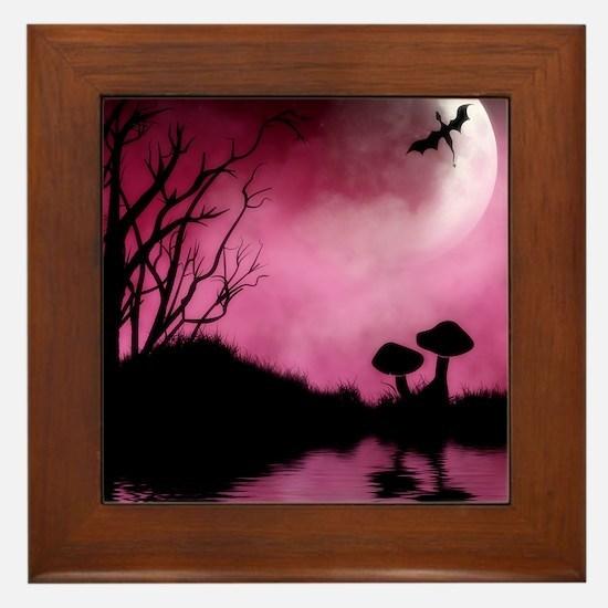 Enchanted-Silhouette-dragon-Red Framed Tile