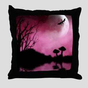 Enchanted-Silhouette-dragon-Red Throw Pillow