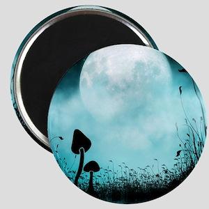 Enchanted-Silhouette-Mushroom-Teal Magnet