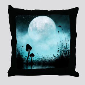 Enchanted-Silhouette-Mushroom-Teal Throw Pillow