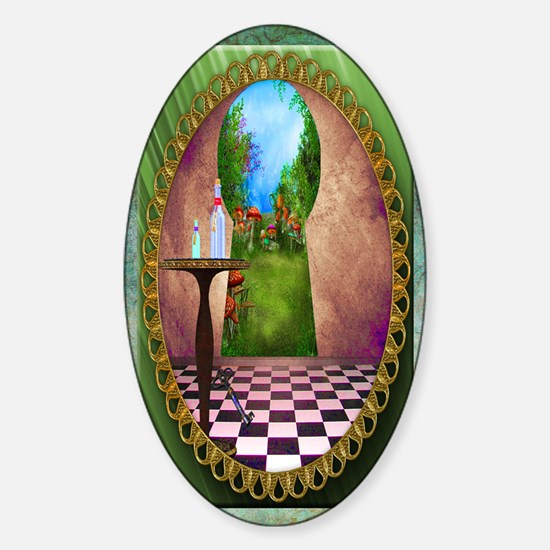 Through The Key Hole Sticker (Oval)