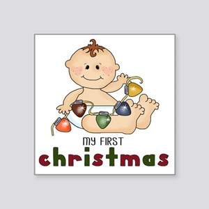 "First Christmas (Boy Design Square Sticker 3"" x 3"""