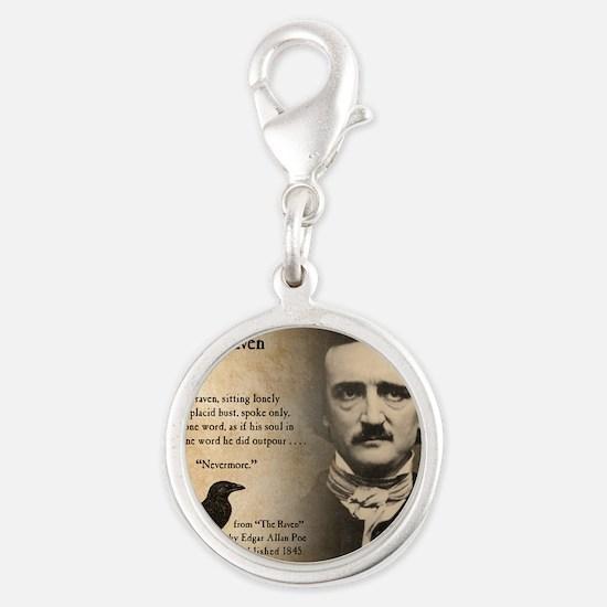 Edgar Allan Poe Silver Round Charm