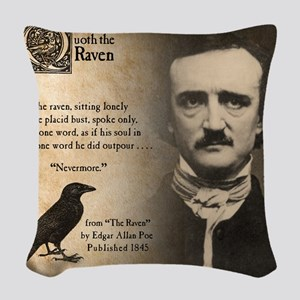 Edgar Allan Poe Woven Throw Pillow