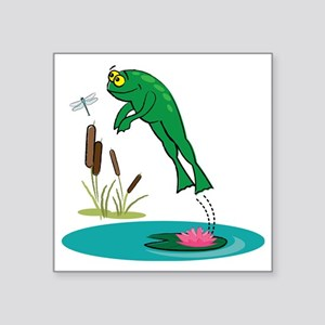 "Whimsical Leaping Frog Square Sticker 3"" x 3"""