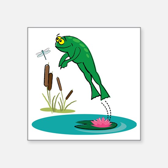 """Whimsical Leaping Frog Square Sticker 3"""" x 3"""""""