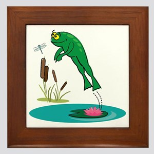 Whimsical Leaping Frog Framed Tile