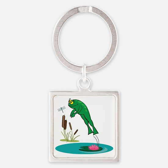 Whimsical Leaping Frog Square Keychain