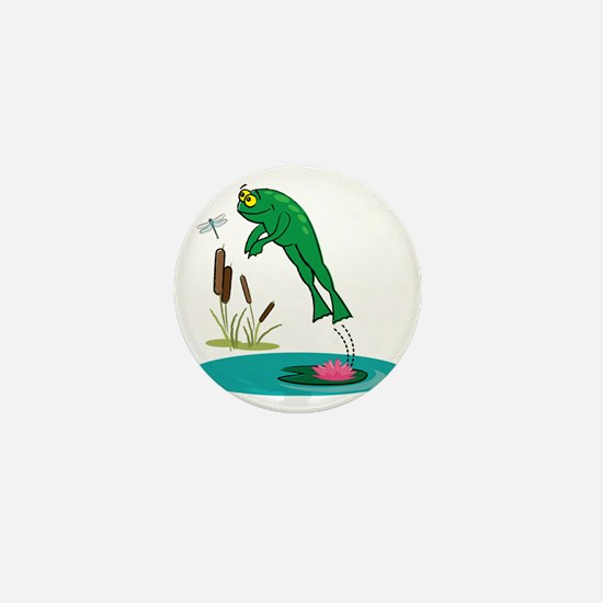 Whimsical Leaping Frog Mini Button