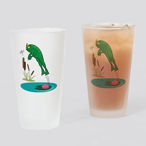Whimsical Leaping Frog Drinking Glass