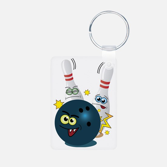 Bowling Ball and Pins Keychains