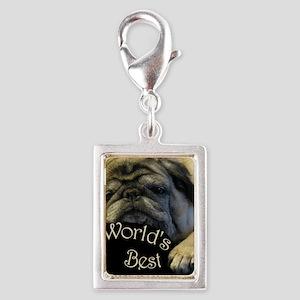 Worlds Best Pug Daddy Silver Portrait Charm