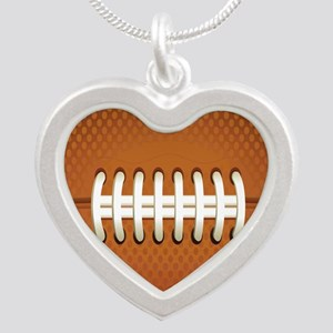Football Silver Heart Necklace