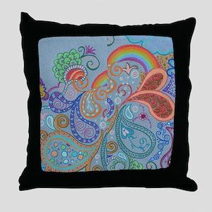 Rainbow Paisley Throw Pillow