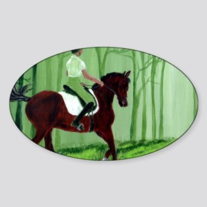 Through There? -Equestrian Art Sticker (Oval)