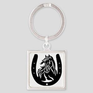 Horse Head & Horseshoe Square Keychain