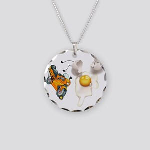 Funny Egg Accident Necklace Circle Charm