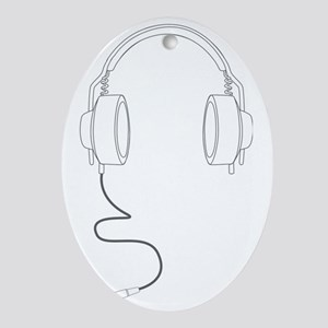 Headphones Outline in Grey v2 Oval Ornament