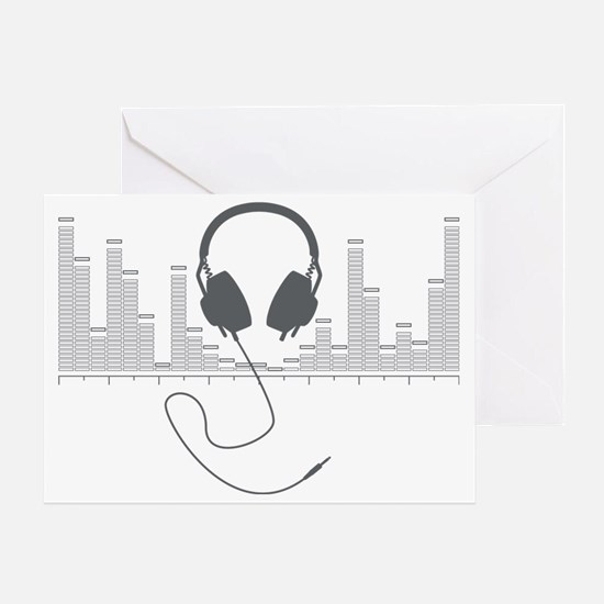 Headphones with Audio Bar Graph in G Greeting Card