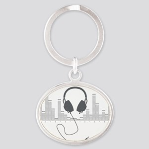 Headphones with Audio Bar Graph in G Oval Keychain