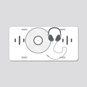Headphones with Vinyl Recor Aluminum License Plate
