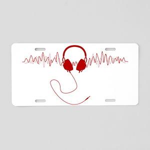 Headphones with Soundwaves  Aluminum License Plate