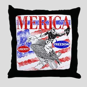 Merica Eagle and Cowboy Throw Pillow