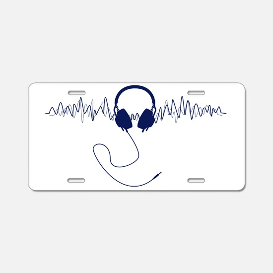 Headphones with Soundwaves  Aluminum License Plate