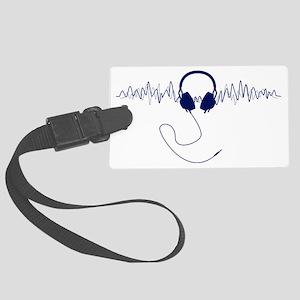 Headphones with Soundwaves Visua Large Luggage Tag