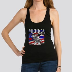 Merica Eagle and Cowboy Racerback Tank Top