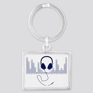 Headphones with Audio Bar Graph Landscape Keychain