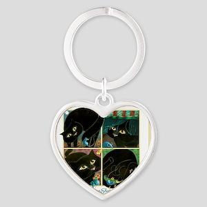 A CAT NEVER TELLS Heart Keychain