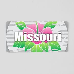 Missouri Hibiscus Aluminum License Plate